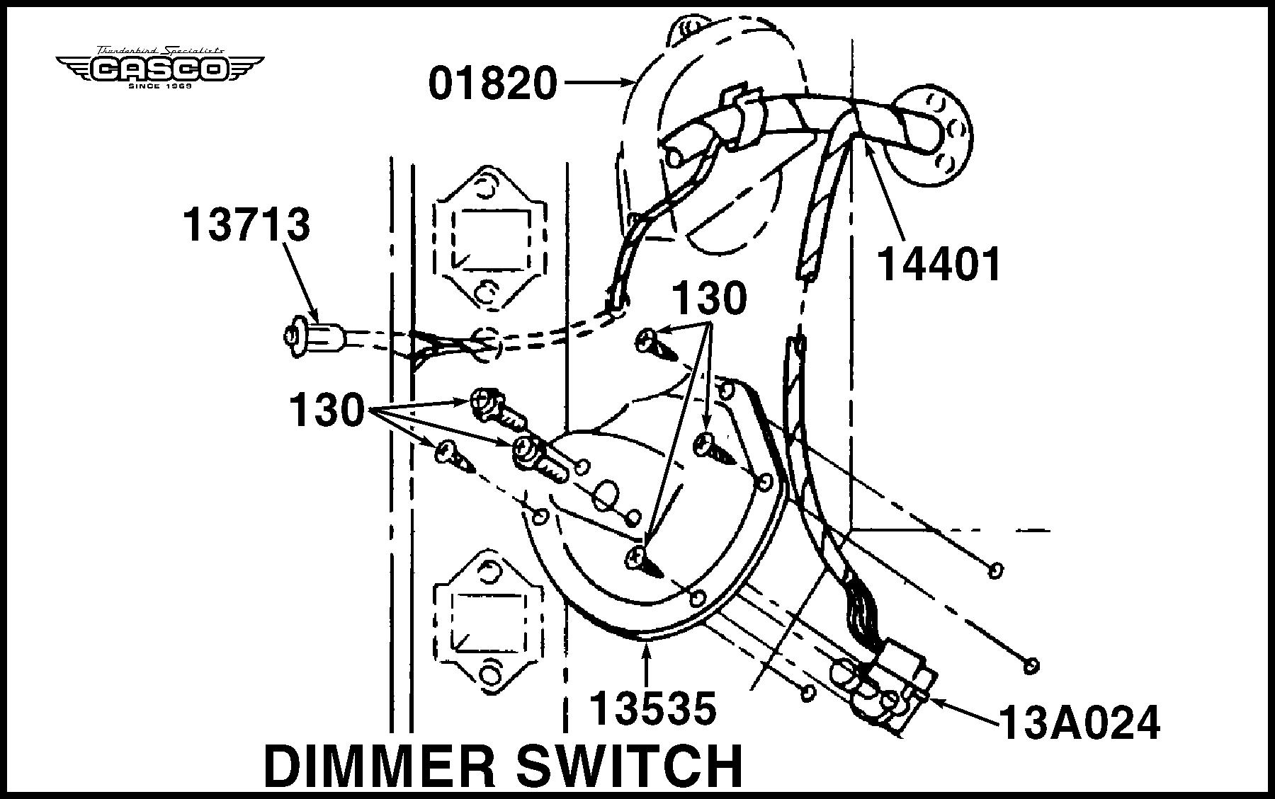 Install Kit - Dimmer Switch & Plate - 1 Per car-classictbird.com