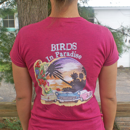 Birds in Paradise T-Shirt WOMENS Berry